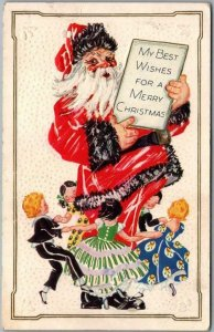 Vintage CHRISTMAS Postcard Giant SANTA CLAUS w/ Ring of Dancing Children c1910s