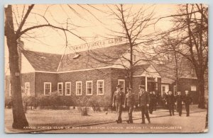 Boston MA Soldiers & Sailors Leaving Armed Forces Club~Sepia Postcard~c1910 PC