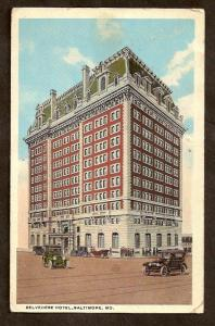 Postcard-Belvedere Hotel-Baltimore, MD-Antique Autos-1919