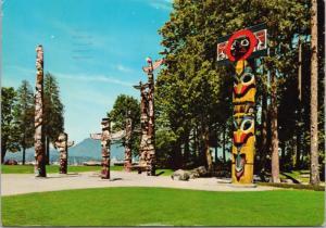 Totem Poles Stanley Park Vancouver BC Indigenous Art Carvings c1976 Postcard D43