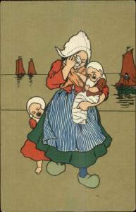 Dutch Romance & Sailboats Series #1806 Art Deco c1905 Postcard #5