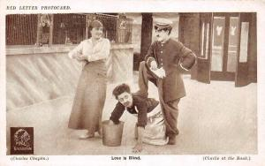 Famous Comic Actor Charlie Chaplin (at the Bank) Love is Blind, Red Letter 1913