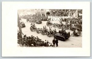 Lawton OK~Fort Sill~RPPC~Military Parade~Caissons~Tank~Motorcycle w/Sidecar~1914