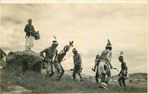 Dance Drum 1920s Native American Indian RPPC Photo Postcard 7778