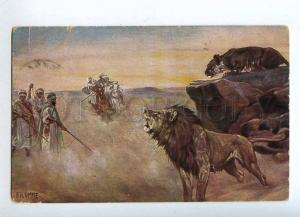 215730 HUNT Arabian Horse Hunter LION by FROMME Vintage PC