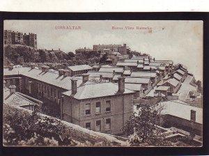 P1670 old unused postcard birds eye view buena vista barracks gibraltar