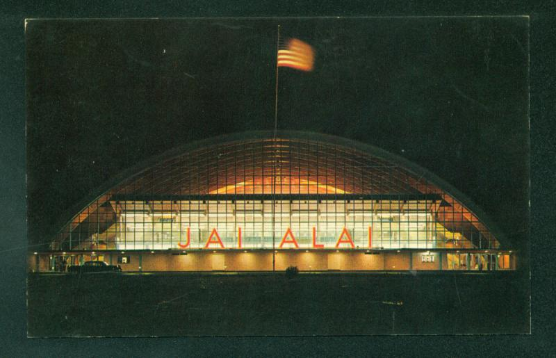 Jai Alai Sports Arena West Palm Beach NIGHT SCENE Florida FL Vintage Postcard