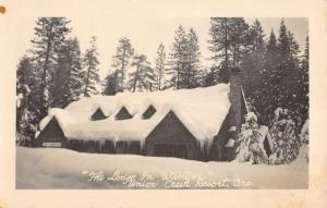 Union Creek Resort Oregon Lodge In Winter Real Photo Antique Postcard K100493