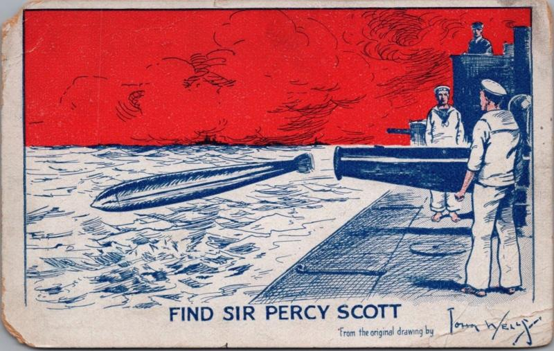 Find Sir Percy Scott Torpedo Navy Sailors 1922 John Wells Postcard D40 *As Is
