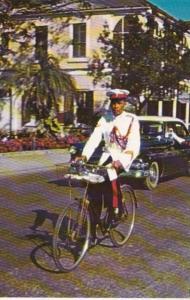 Bahamas Nassau White Uniformed Policeman On His Bicycle