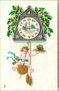 1912 HAPPY NEW YEAR Embossed Postcard Baby New Year / Clock - STECHER 218A