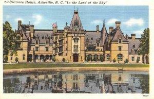 ASHEVILLE, NC  North Carolina   BILTMORE HOUSE   Roadside c1940's Linen Postcard