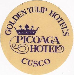 Peru Cusco Picoaga Hotel Vintage Luggage Label sk1391