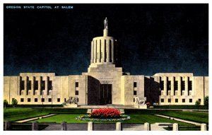 Oregon   Salem State capitol Building at night