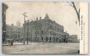 Clinton Massachusetts~High Street Corner~Horses in Blankets~Buggies~1909 B&W PC