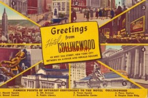 VARIOUS POINTS OF INTEREST CONVENIENT TO HOTEL COLLINGWOOD NEW YORK CITY 1949