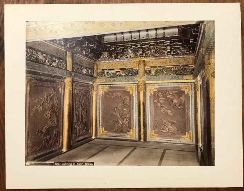 Print 1905 ; Hand Colored ; Carving in door , NIKKO , Japan