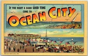 OCEAN CITY New Jersey Big Letter Postcard w/ Bathing Beach Scene Curteich Linen