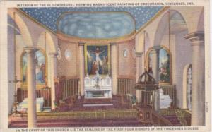 Church Interior Of The Old Cathedral Showing Painting Of Crucifixion Vincenne...