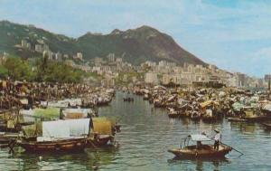 Boat People In Causeway Bay Typhoon Shelter Hong Kong Photo Postcard
