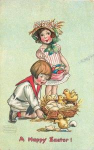Katharine Gassaway~Children Watch Easter Chicks Hatch~Egg Shells~Nest~Embos~TUCK