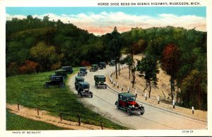 Michigan Muskegon Horse Shoe Bend On Scenic Highway Curteich