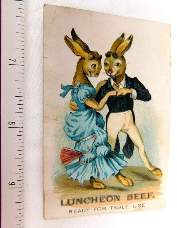 1870's-80's Armour Luncheon Beef Anthropomorphic Cute Rabbit Couple Dancing F48