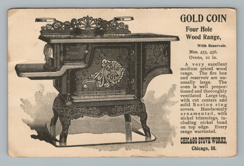 Chicago Stove Works Gold Coin Four Hole Wood Range USN Charleston Trade Card Ill