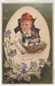 EASTER, 1900-10s; Boy holding hen in nest, Egg shell frame, Flowers, PFB 6727