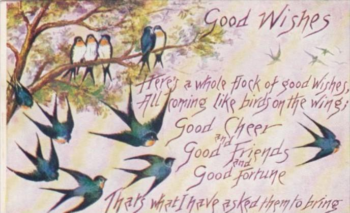 Good Wishes With Flock Of Birds Sparrows