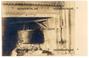 RPPC, Kettle in Fire Place, Cooking Pot, DeRuyter NY