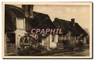 Old Postcard La Douce France Normandy Old Houses In Thatch Roofs From