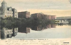 East Bank Chenago River Binghamton New York Hand colored Rochester postcard 9410