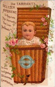 Tarrants Seltzer Aperient, baby in basket, Victorian Trade Card, unusual
