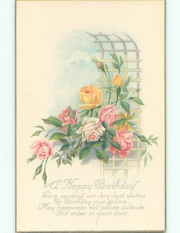 Unused Pre-Linen PINK AND YELLOW ROSE FLOWERS BESIDE TRELLIS k4167-12