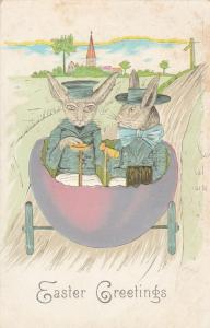 Easter Greetings - Rabbit Couple driving Egg Automobile - pm 1907 - DB