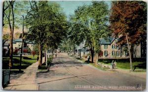West Pittston, Pennsylvania Postcard LUZERNE AVENUE Residential Scene c1910s