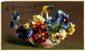 Lumineux Et Joyeux Noël Bol De Pensée Fleurs Vide Arrière Unp Carte Postale Neuf