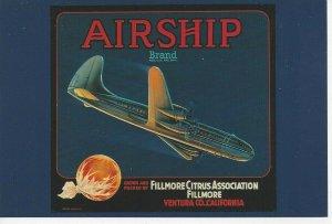 Postcard Airship Brand Orange Box Crate Label Ca 1930 Ventura Airplane