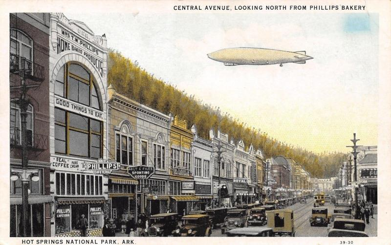 Hot Springs AR Dirigible~Phillips Cafeteria~Files Sporting Goods~1920s Cars PC