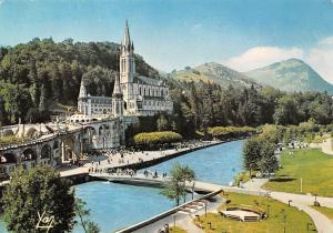 France Lourdes La Basilique et le Gave de Pau Basilica River Bridge