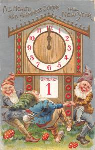 New Year's greeting dancing elves mushrooms clock calendar antique pc (Y2262)