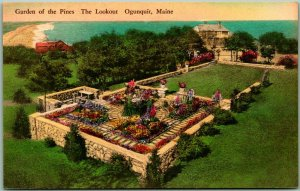 Ogunquit, Maine Postcard Garden of the Pines, The Lookout Hand-Colored c1930s