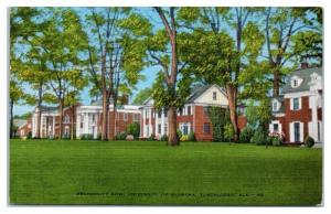 Fraternity Row, University of Alabama, Tuscaloosa, AL Postcard