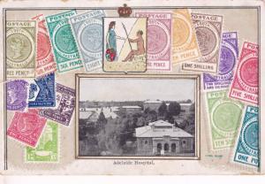 Adelaide Hospital Australia Stamp Collection Old Postcard