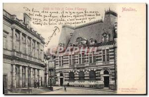 Old Postcard Bank town of Moulins Hotel and Caisse d & # 39Epargne