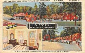 VICTOR'S HOLLYWOOD COTTAGES Falmouth, VA Roadside 1947 Vintage Linen Postcard