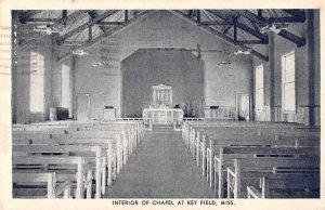 Key Field Mississippi Chapel Interior Vintage Postcard JJ649873