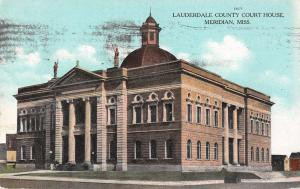 Meridian Mississippi birds eye view Lauderdale Co Court House antique pc Z23536
