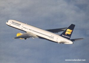 ICELANDAIR Airlines Boeing 757-200  Jet Airplane & route map on back, 2000